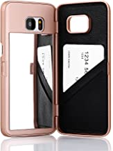 W7ETBEN Galaxy S7 Edge Case, Hidden Back Mirror Wallet Case with Stand Feature and Card Holder for Samsung Galaxy S7 Edge G9350 (Rose Gold)