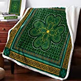T&H XHome Sherpa Fleece Throw Blanket Cozy Soft Warm Bed Blankets,St. Patrick's Day Traditional Shamrock Irish Fuzzy Plush Microfiber Lightweight Blankets All Season for Couch Sofa 50x60IN