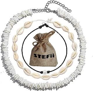 3Pack Puka Shell Necklace Choker 3Pcs Set - Womens Seashell Necklace, Pearl Choker, Mens Hawaiian Puca Chip White Necklace - Handmade Sea Shells Beads Women Men Necklaces Surfer Chips Beach Jewelry