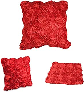 WOMHOPE Set of 2 Pcs 3D Solid Color Satin Rose Flower Square Pillowcase Bed Sofa Cushion Pillow Case Arts Decorative Cover Rose Flowers Throw Pillow Covers Protector(Red 2)