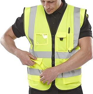 Hi Vis Executive Vest Waistcoat with Phone & ID Pockets Yellow Orange - 2 Two Tone