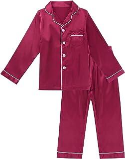 inlzdz Conjunto de pijama de satén de seda para niños y niñas, 2 piezas, manga larga, con botones, ropa de dormir