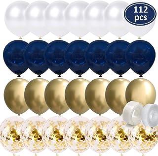 112Pcs Navy BlueBalloons - Gold Chrome Balloons - Gold Confetti Balloons - White Balloons Matte - Balloon Strip - Glue P...