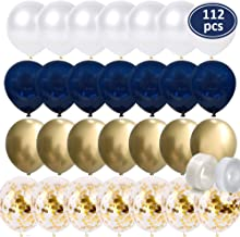 112Pcs 10 Inch Navy BlueBalloons - Gold Chrome Balloons - Gold Confetti Balloons - White Balloons Matte - Balloon Strip - Glue Points forBaby Shower, Boys Birthday Party, Wedding PartyDecorations