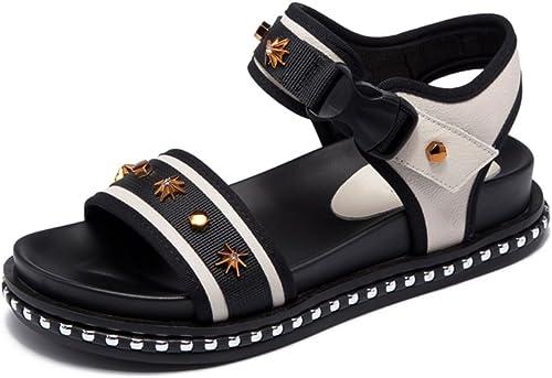 JIANXIN Sandales en Cuir Femmes D'été Plat Simple Simple Sandales Occasionnels De Velcro Harajuku Chaussures De Plage De Style (Taille   EU 39 US 8 UK 6 JP 25cm)  offres de vente