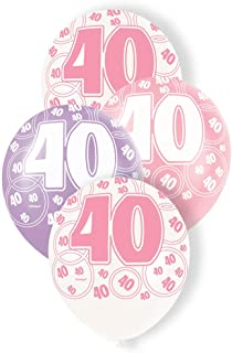 Unique Party 40 Latex Balloons, Pearl Pink, Pearl Lavendar and Pearl White, 30cm/12, Pack of 6