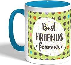 كوب سيراميك للقهوة بتصميم اصدقاء الى الابد، لون تركواز