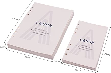 LABON'S A6 Loose Leaf Paper for Ring Binder 6 Hole 120 Sheets Filler for 2019 2020 Calendar/Monthly Weekly Daily Schedule/Telephone & Address/Ruled Dotted Grid Free Note Refillable Planner 200G
