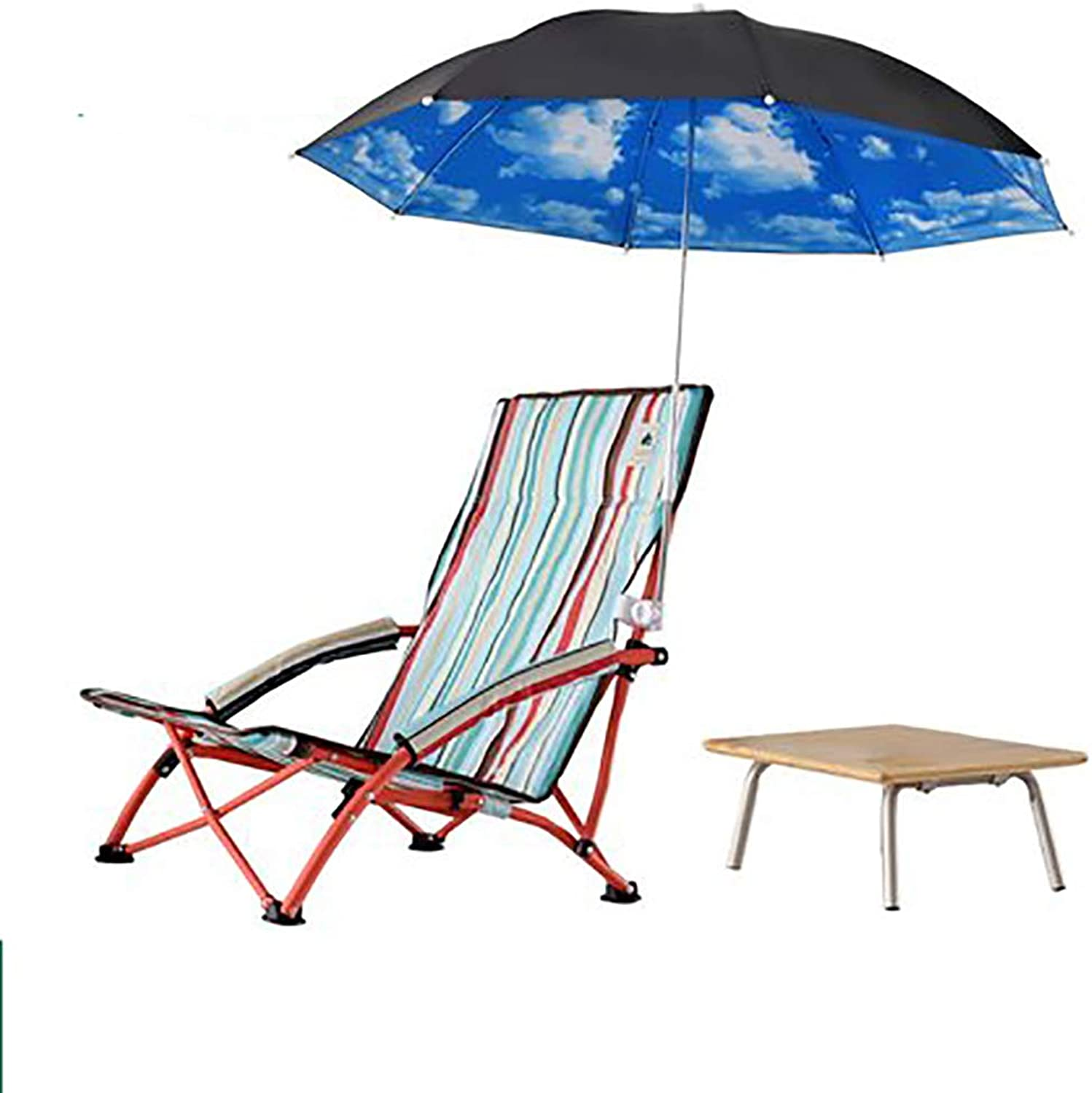 Outdoor Folding Beach Chair, Mini with armrest Cup Holder Umbrella Portable Low Sitting Back Fishing Chair, for Camping Picnic Barbecue Garden Sketch, with Storage Bag