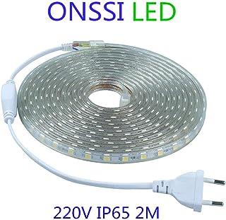Tiras LED Smd5050 60 Led/m 220v (2 Metros) 6000k Luz Fria IP65 Impermeable Con Enchufe ONSSI LED