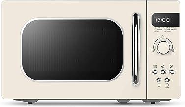 GMZS Iluminación LED de microonda, Retro 800 Watts 20 litros, con 8 Menús automática, 5 Niveles de Potencia de cocción y café expreso Botones de Cocina