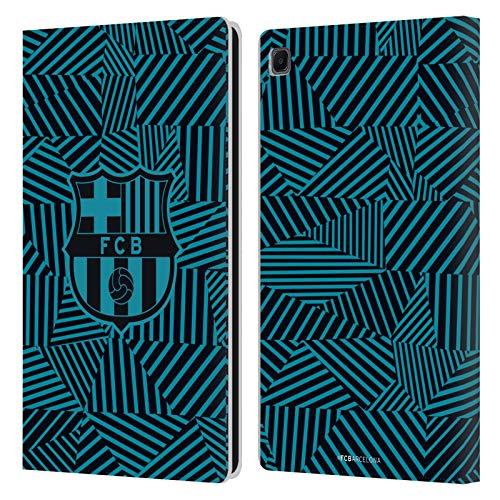 Head Case Designs Licenciado Oficialmente FC Barcelona Negro 2017/18 Crest Carcasa de Cuero Tipo Libro Compatible con Samsung Galaxy Tab S6 Lite