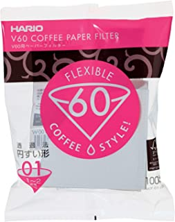 Hario V60 Paper Coffee Filters, Size 01, White-Tabbed