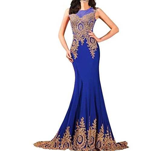 4c5fc8b04e Lemai Shiny Crystals Long Mermaid Formal Prom Pageant Evening Dresses Gold  Lace Sheer