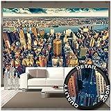 GREAT ART Mural de Pared ? Manhattan Nueva York Al Atardecer ? Horizonte Mural Ciudades Turismo Ciudad Motivo Metrópoli Sightseeing Foto Tapiz Y Decoración (336 x 238 cm)