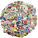 Travel Map Laptop Stickers 100 Pcs Pack Travel Case Vinyl Waterproof Sticker Skateboard Pad Car Snowboard Bicycle Luggage Decal