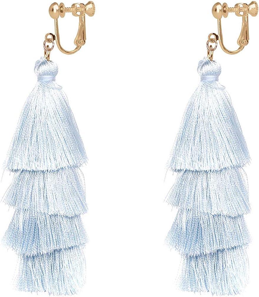 Colorful Layered Tassel Earrings for Women Bohemian 4 Tier Fringe Tassel Clip on Earrings for Non Pierced