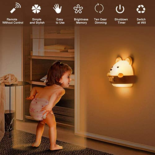 Baby Night Light for Kids,DawnTrees Bear Kids Night Light,Cute Kawaii Bear Light with Remote Control, Timer and Magne...