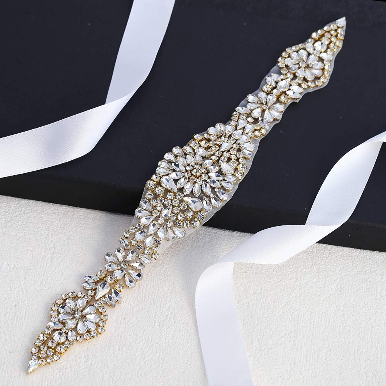 Bridal Applique Rhinestone Trim for Women Belt (gold)