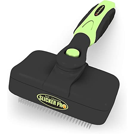 Dog or Cat Brush for Shedding and Grooming – Premium Self Cleaning Slicker Brush, Easy to Clean Comb for Long or Short Haired Dogs - Large or Small Pet, Hair Deshedding Supplies