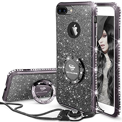 OCYCLONE Fundas iPhone 8 Plus/7 Plus con Anillo Movil,Purpurina Dimantes Ultra Slim Soft TPU Fundas Movil Protector iPhone 7 Plus/8 Plus para Mujer,Negro