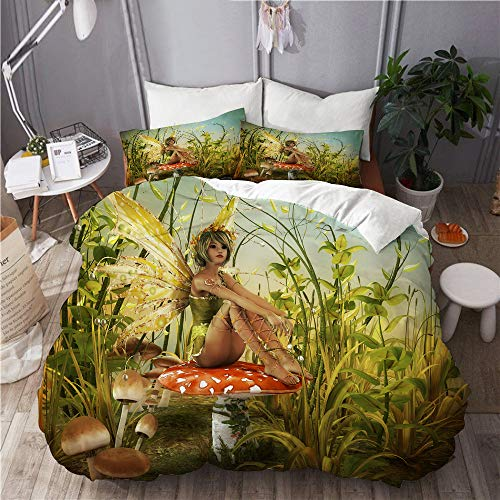 SUHOM bedding-Duvet Cover Set,Little Fairy Elf with Wings Flying and Mushroom in The Enchanted Forest Birds Party,Microfibre 135x200 with 2 Pillowcase 50x80,Single