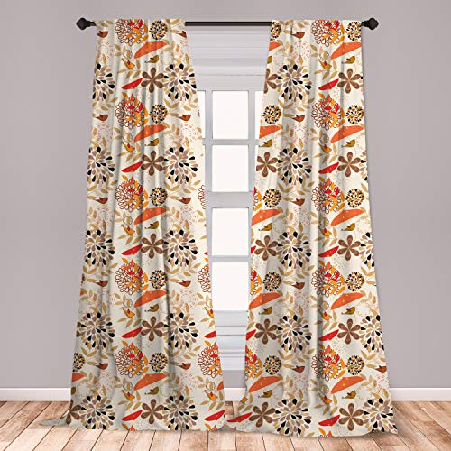 Lunarable Autumn Fall Window Curtains, Little Birds Flourishing Nature Elements Umbrellas with Abstract, Lightweight Decorative Panels Set of 2 with Rod Pocket, 56' x 84', Orange Brown