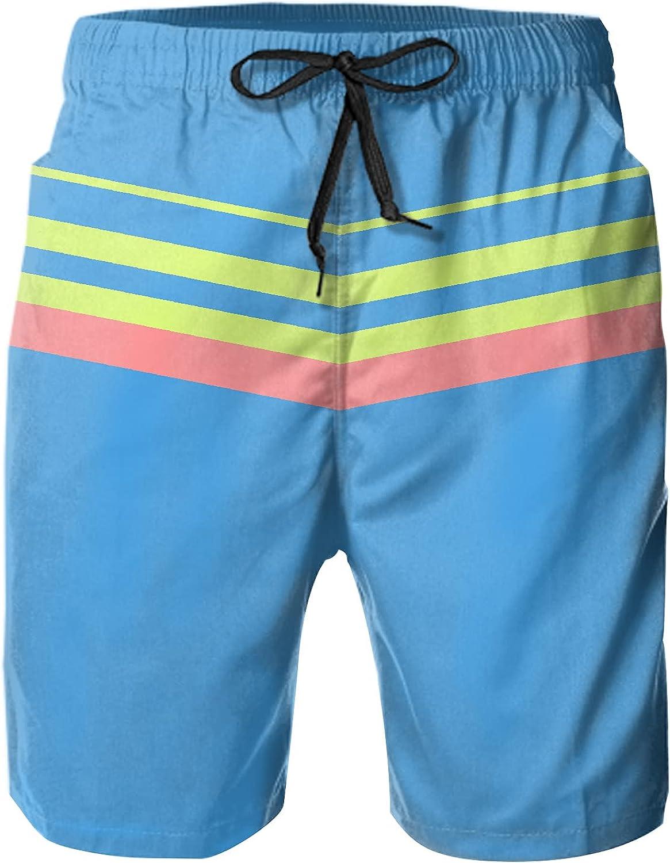 XSKJY Mens Boys 80s Or 90s Swim Trunks Quick Dry Striped Swim Shorts with Mesh Lining Swim Suits Board Shorts