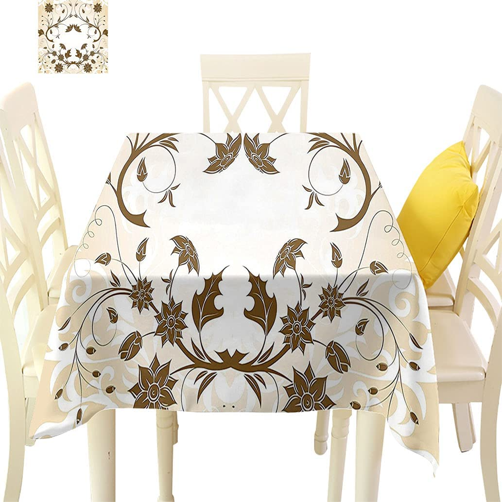 Floral Printed Square Tablecloth Brand new Swirled Figures Leaf Today's only Cl Petals