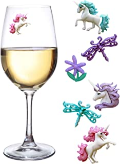 Unicorn Magnetic Wine Charms or Drink Markers Set of 6 - Great Gift for Lovers of the Mythical & Magical by Simply Charmed