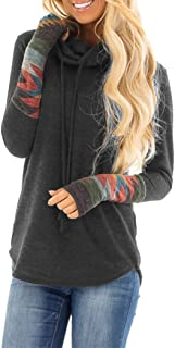 Women's Cowl Neck Long Sleeves Tunic Tops Aztec Printed Casual Sweatshirts Cute Patchwork Blouse Pullover