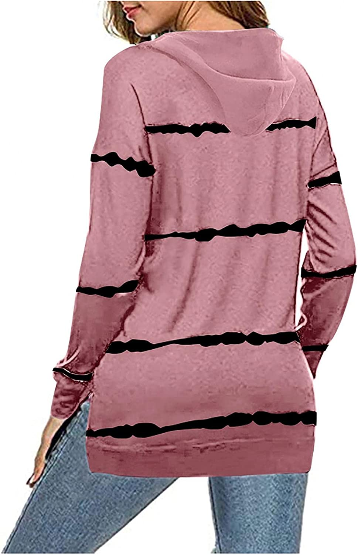 Jaqqra Hoodies for Women, Womens Casual Striped Print Zip Up Sweatshirt Jacket Long Sleeve Pullover Tops Blouse Coat