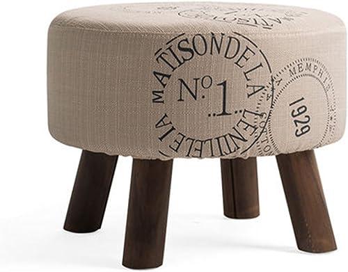 Salon bois massif canapé tabouret simple ménage petit tabouret rond 45  35cm (Couleur   Beige)