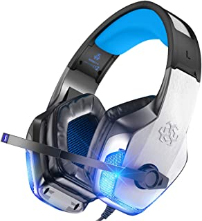 BENGOO V-4 Gaming Headset for Xbox One, PS4, PC, Controller, Noise Cancelling Over Ear Headphones with Mic, LED Light Bass Surround Soft Memory Earmuffs for PS2 Mac Nintendo Switch Games