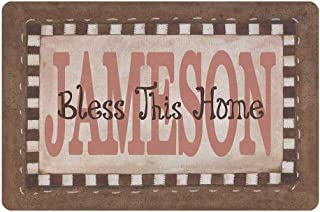 MyPupSocks Custom Door Mats Text Name Bless This Home Personalized Door Mats Outside