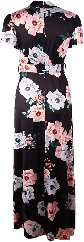 Pervobs Women Maxi Dress Short Sleeve Floral Print O-Neck Elegant Evening Long Dress