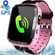 MiKin Kids Smart Watches for Girls Boys GPS Tracker IP67 Waterproof Smartwatch Phone Two Way Call SOS Camera Math Game Vice Chat Alarm Clock LED Flashlight 1.44