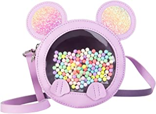Cute Little Girls Purse, Leather Novelty Wallet Crossbody Shoulder Bag Pretend Play Handbag for Kids with Glitter Mouse Ears