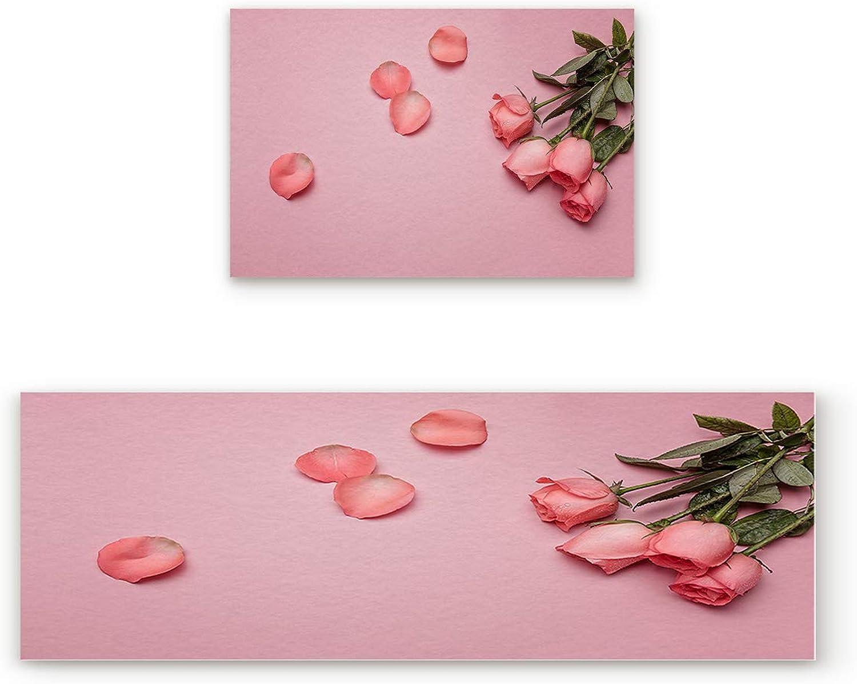 Aomike 2 Piece Non-Slip Kitchen Mat Rubber Backing Doormat pink on Pink Background Simple Modern Artwork Runner Rug Set, Hallway Living Room Balcony Bathroom Carpet Sets (19.7  x 31.5 +19.7  x 47.2 )
