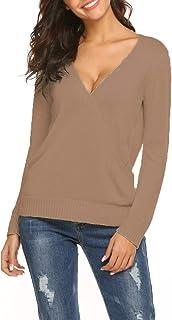 Hount Women's Long Sleeve Deep V Neck Casual Knit Pullover Coat Sweatshirts