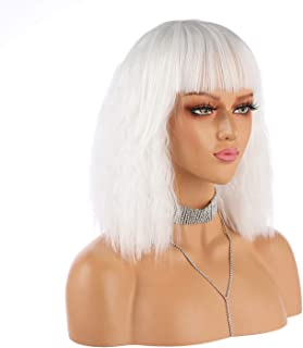 eNilecor Short Fluffy Bob Kinky Straight Hair Wigs with Bangs Synthetic Heat Resistant Women Fashion Hairstyles Custom Cos...