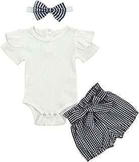 Camidy 3pcs Toddler Girl Romper Short Sleeve Plaid Short Pants Headband Suit 0-24Months