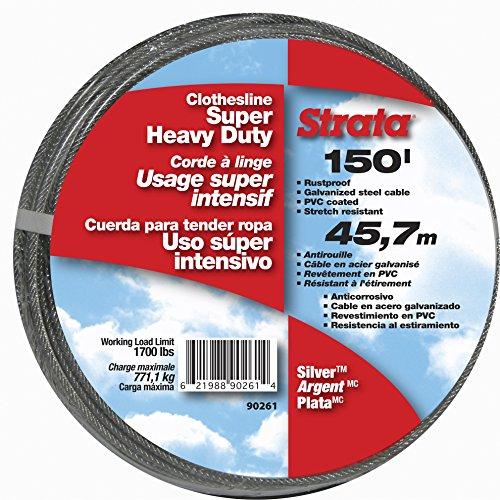 Strata 150 Silver Clothesline - Super Heavy Duty Galvanized Steel Cable PVC Coasting