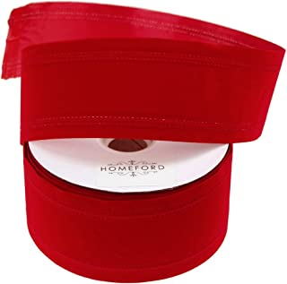 Homeford Waterproof Velvet Dual Christmas Ribbon Wired Edge, Red, 4-Inch, 25-Yard