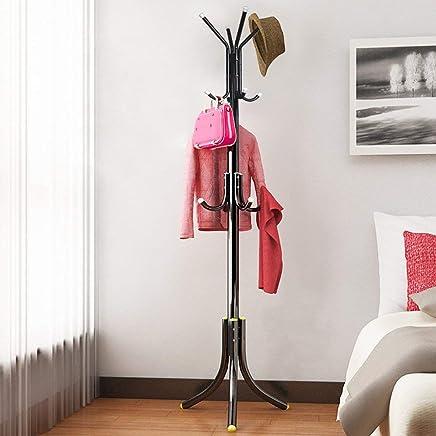 ADA Wrought Iron Coat Rack Hanger Creative Fashion Bedroom for Hanging Clothes Shelves, Wrought Iron Racks Standing Coat Rack (Black)