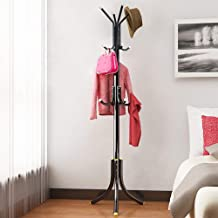 ADA Wrought Iron Coat Rack Hanger Creative Fashion Bedroom for Hanging Clothes Shelves, Wrought Iron Racks Standing Coat Rack (Black)