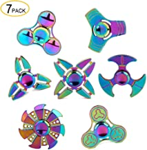 SCIONE Metal Fidget Spinner 7 Pack Stainless Steel Bearing 3-5 Min High Speed Stress Relief Spin ADHD Anxiety Toys for Adult Kid Autism Fidgets Best EDC Hand Toy Focus Fidgeting