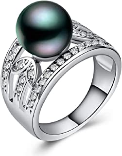 MAIHAO Fashion Ring Lucky 925 Silver Jewelry Elegant Round Cut Black Pearl Women Wedding Ring Size 6-10 (US Code 10)