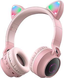 Wireless Bluetooth Headphones, Cat Ears Bluetooth Over Ear Headphones Volume Limiting,LED Lights, FM Radio, TF Card, Aux, ...