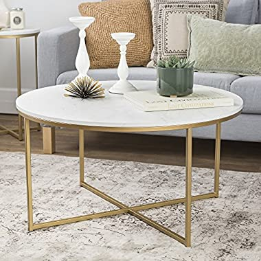 WE Furniture 36  Coffee Table X-Base - Faux Marble/Gold